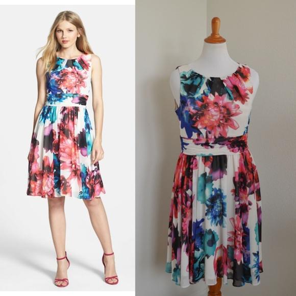 f79d8e0bc81af Eliza J Dresses & Skirts - Eliza J Floral Print Chiffon Fit & Flare Dress